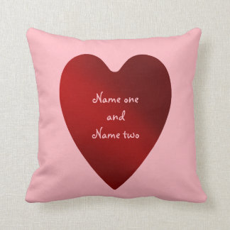 Valentines Day red hearts pattern couples names Throw Pillow