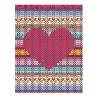Valentines day red knitted heart postcard