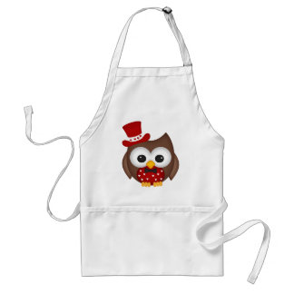Valentine's Day Red Owl Adult Apron