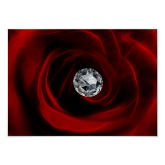 Valentines day red rose and diamond poster