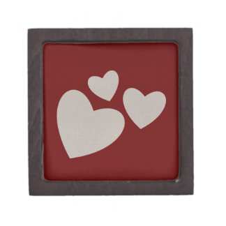 Valentine's Day Red with Beige Hearts Gift Box
