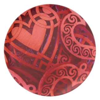 Valentine's Day Red Wooden Hearts