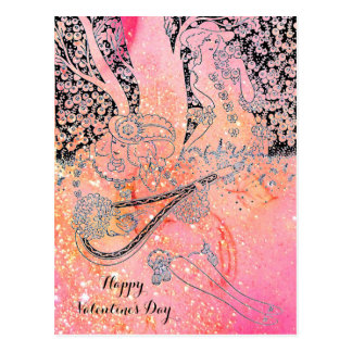 VALENTINE'S DAY ROMANCE,ROMANTIC LOVERS IN PINK POSTCARD