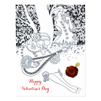 VALENTINE'S DAY ROMANTIC LOVERS RED WAX SEAL HEART POSTCARD