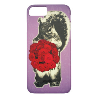 Valentines Day Rose funny squirrel iPhone 7 Case