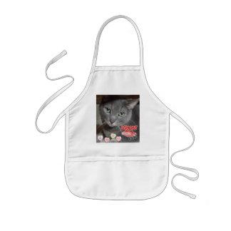 Valentine's Day Russian Blue Gray Cat Kids' Apron