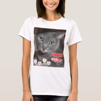 Valentine's Day Russian Blue Gray Cat T-Shirt