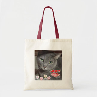 Valentine's Day Russian Blue Gray Cat Tote Bag