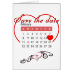 Valentine's Day Save the Date Cute Calendar Cards