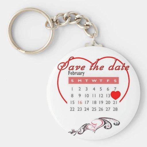 Valentine's Day Save the Date Cute Calendar Keychain