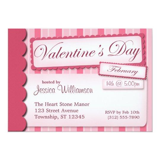 Valentine's Day Scrapbook Pink Stripe Invitations