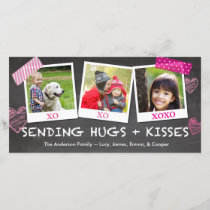 Valentine's Day Sending Hugs and Kisses Holiday Card