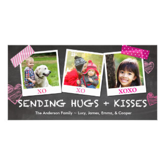 Valentine's Day Sending Hugs and Kisses Photo Card