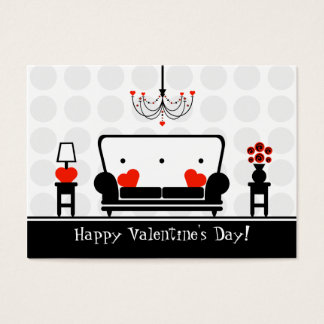 Valentine's Day - Set of 100 Black White & Red Business Card