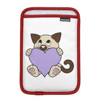 Valentine's Day Siamese Cat - Light Purple Heart Sleeve For iPad Mini