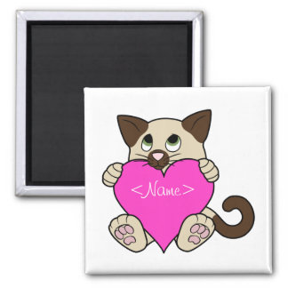 Valentine's Day Siamese Cat with Pink Heart Magnet