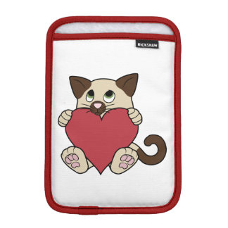 Valentine's Day Siamese Cat with Red Heart Sleeve For iPad Mini