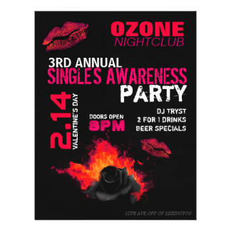 Valentine's Day Single's Awareness Party Flyers