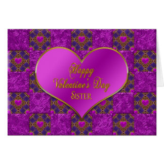 Valentine's Day - Sister - Hearts/Purple/Pink Card