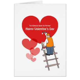 Valentine's Day Sister & Partner Cards, Red Hearts Card