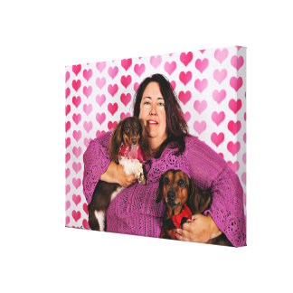 Valentine's Day - Skippy & Zelda - Dachshunds Canvas Print