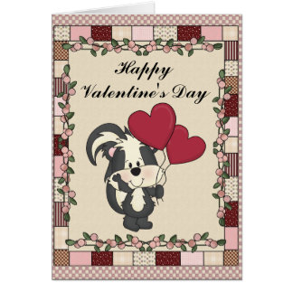 Valentine's Day skunk greeting card