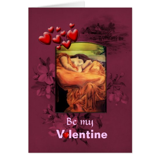 Valentines Day Sleeping Woman, St Valentine Card
