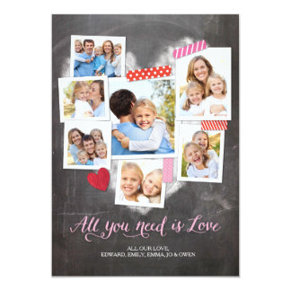 Valentine's Day Snapshots Heart 5x7 Paper Invitation Card