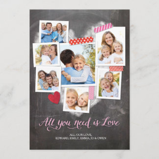 Valentine's Day Snapshots Heart Holiday Card