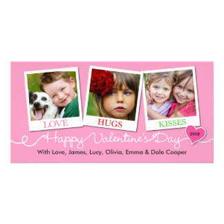 Valentine's Day Snapshots Love, Hugs, Kisses Pink Card