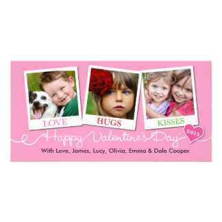 Valentine's Day Snapshots Love, Hugs, Kisses Pink Photo Card