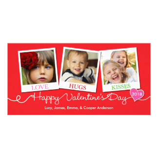 Valentine's Day Snapshots Love, Hugs, Kisses Red Photo Card