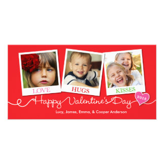 Valentine's Day Snapshots Love Hugs Kisses Red Photo Card