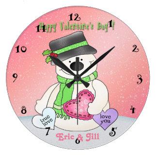 Valentine's Day Snowman Round Wall Clock