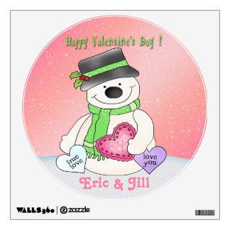 Valentine's Day Snowman Round Wall Decal