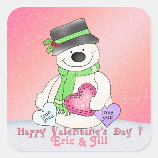 Valentine's Day Snowman Square Stickers