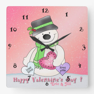 Valentine's Day Snowman Square Wall Clock