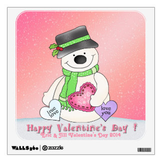 Valentine's Day Snowman Square Wall Decal