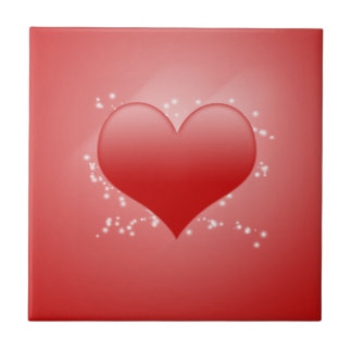 Valentine's Day Sparkly Heart Tile