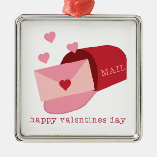Valentines Day Square Metal Christmas Ornament