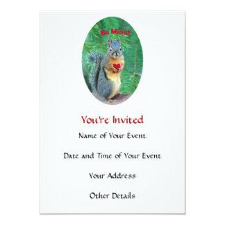 Valentine's Day Squirrel 5x7 Paper Invitation Card