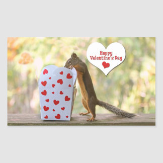 Valentines Day Squirrel Rectangle Stickers