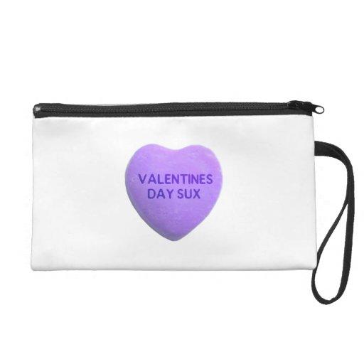 Valentines Day Suck Purple Candy Heart Wristlet Clutch