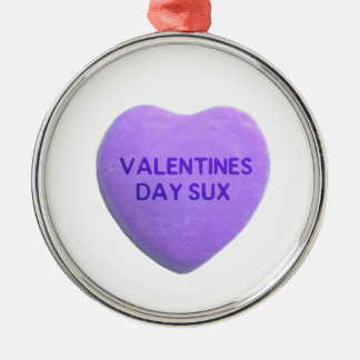 Valentines Day Suck Purple Candy Heart Metal Ornament