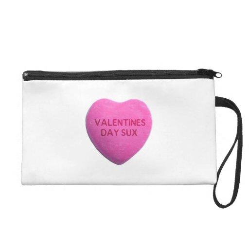 Valentines Day Sucks Pink Candy Heart Wristlet Clutches