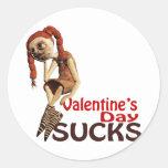 valentines day sucks sad girl round sticker
