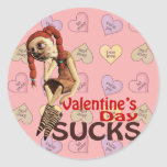 valentines day sucks sad girl round stickers