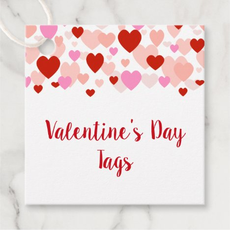 Valentine's Day Tag, Red and Pink Heart Border Favor Tags