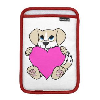 Valentine's Day Tan Dog with Blaze & Pink Heart Sleeve For iPad Mini