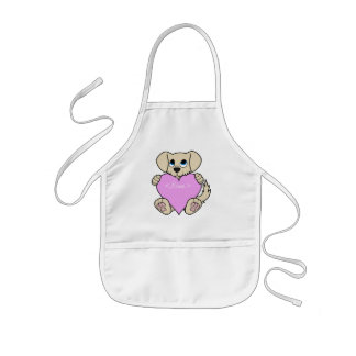 Valentine's Day Tan Dog with Light Pink Heart Kids' Apron
